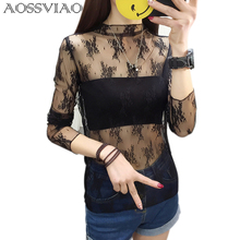 Mock Neck Lettuce Hem Glitter Mesh Blouse Sexy Womens Long Sleeve Tops  Black High Neck Elegant 1a6096236830