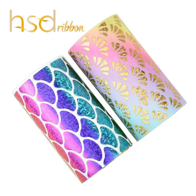 HSDRibbon 75MM 3 pulgadas escalas clásicas patrón holograma Arco Iris hoja de oro cinta de grosgrain estampada