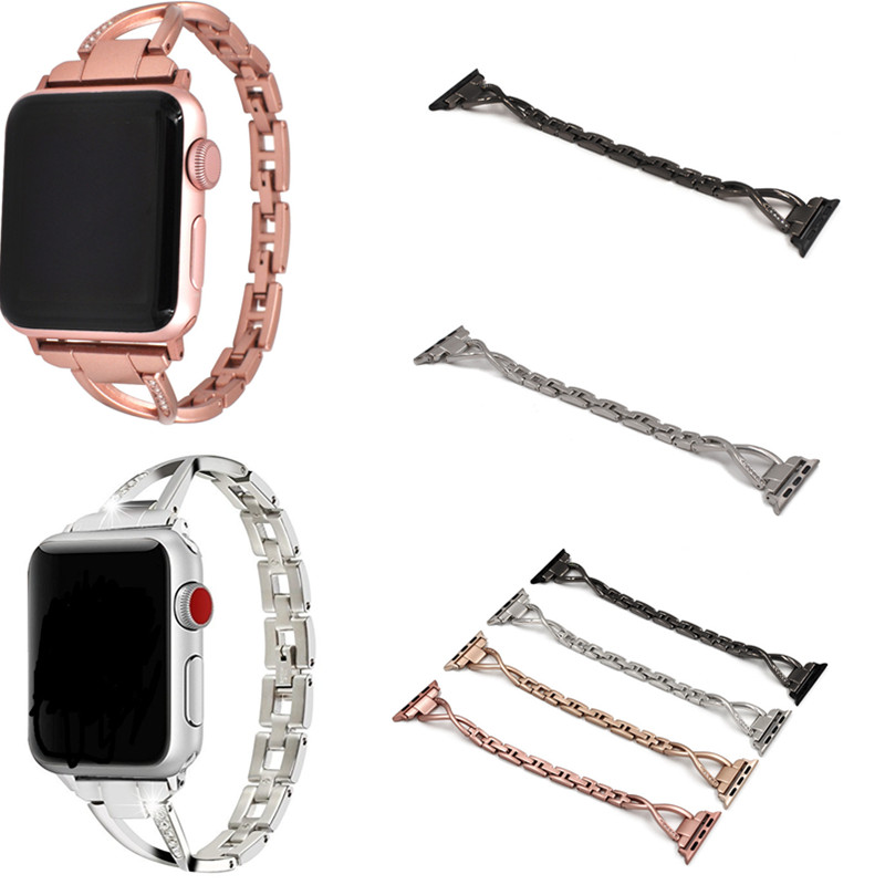 Women Watch Band For Apple Watch Bands 38mm 42mm 40mm 44mm Diamond Stainless Steel Strap For iwatch Series 4 3 2 1 Bracelet