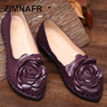 2017 ZIMNAFR BRAND ORIGINAL RETRO HANDMADE WOMEN FLATS GENUINE LEATERH CASUAL SHOES COW LEATHER COMFORTABLE FLATS SIZE 35- 40