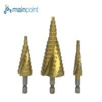 Mainpoint 3Pcs 1 4 Hex Shank Spiral Flute Step Drill Bits Set HSS 4241 4 12