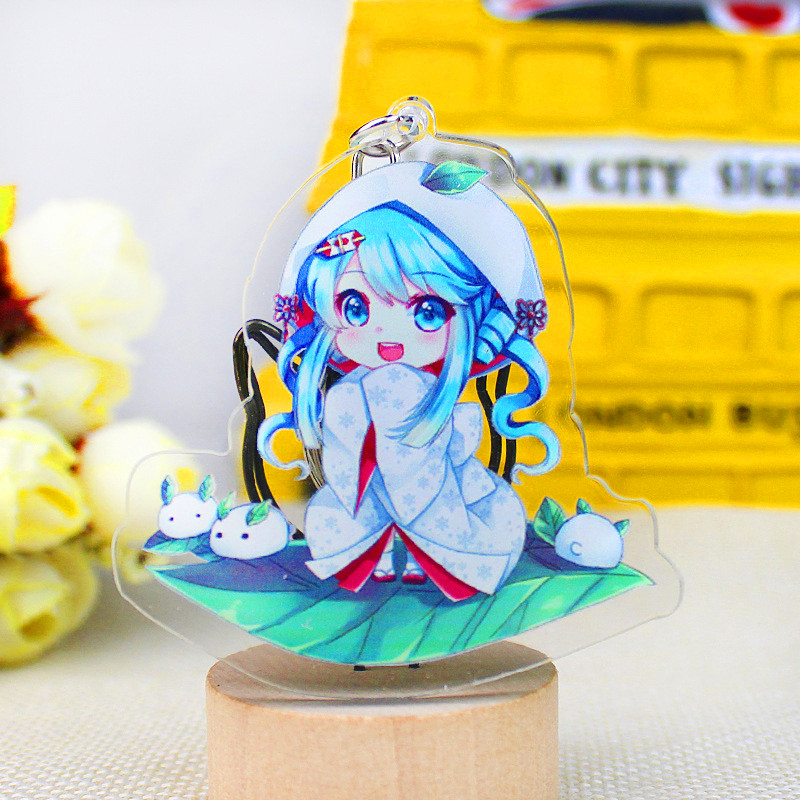 Hatsune Miku Acrylic Keychain Luo Tianyi Anime Pendant Car Accessories Japanese Transparent Key Ring Game Green onion Key Ring in Key Chains from Jewelry Accessories