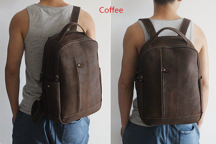 Men 100% Genuine Leather Laptop Backpacks Male Vintage Casual Backpacks Men's Travel Holder 14inch 15.6inch Computer School Bags 20