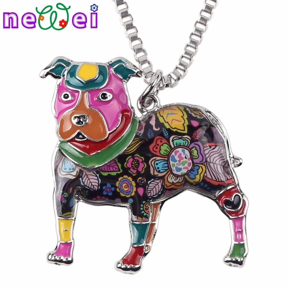 NEWEI Макси заявление металлического сплава питбуль Buster собака колье Цепочки и ожерелья цепи ошейник подвеска мода ювелирные эмали Для женщи...