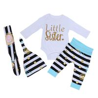Newborn Baby Girls Clothes Little Sister Long Sleeve Romper Striped Leg Warmer Hat Bow Hairband 4pcs