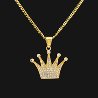 Hip Hop King Crown Pendant Necklace Stainless Steel Gold Color Iced Out Rhinestone Charm Necklace With