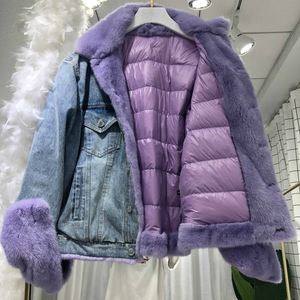 Image 5 - OFTBUY Brand Real Fur Coat Winter Jacket Women Denim Parka Natural Mink Fur Duck Down Coat Thick Warm Streetwear Casual Luxury