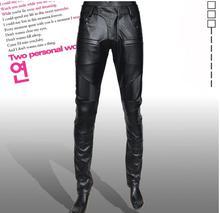 Slim men's clothing fashion motorcycle leather pants men faux leather trousers pantalones hombre cargo pantalon homme black warm