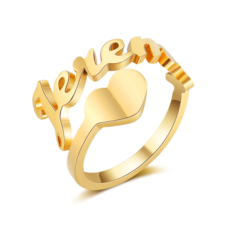 Custom Spiral Name Rings For Women Wedding Bijoux Stainless Steel Personalized Gold Color Plated Nameplate Rings With Heart