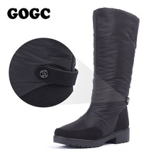 GOGC, botas de invierno para mujer, Otoño Invierno 2019, botas altas para mujer, zapatos impermeables de marca para mujer, zapatos cálidos para invierno, zapatos planos para mujer 9893