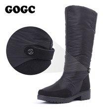 GOGC hiver bottes femmes 2019 automne hiver femme bottes hautes étanche marque femmes chaussures chaud hiver chaussures femmes plat 9893