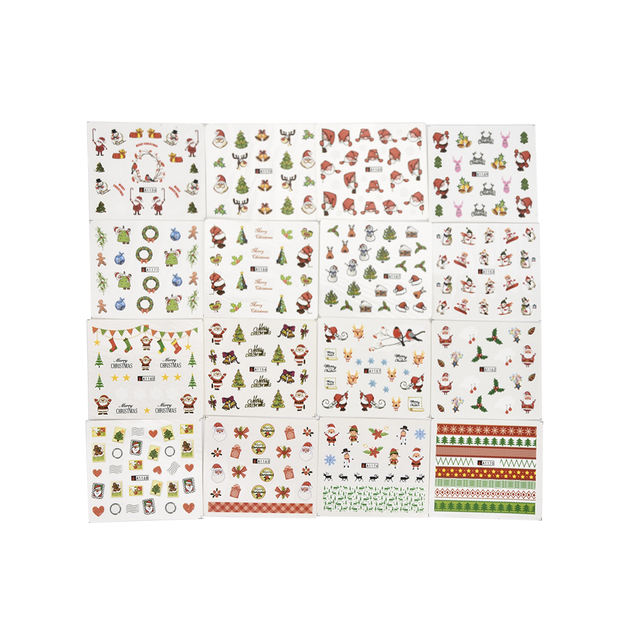 24pcs Watercolor Christmas tree Sticker Nail Decals Set Santa Claus,socks,gift Designs Gel Manicure Decor