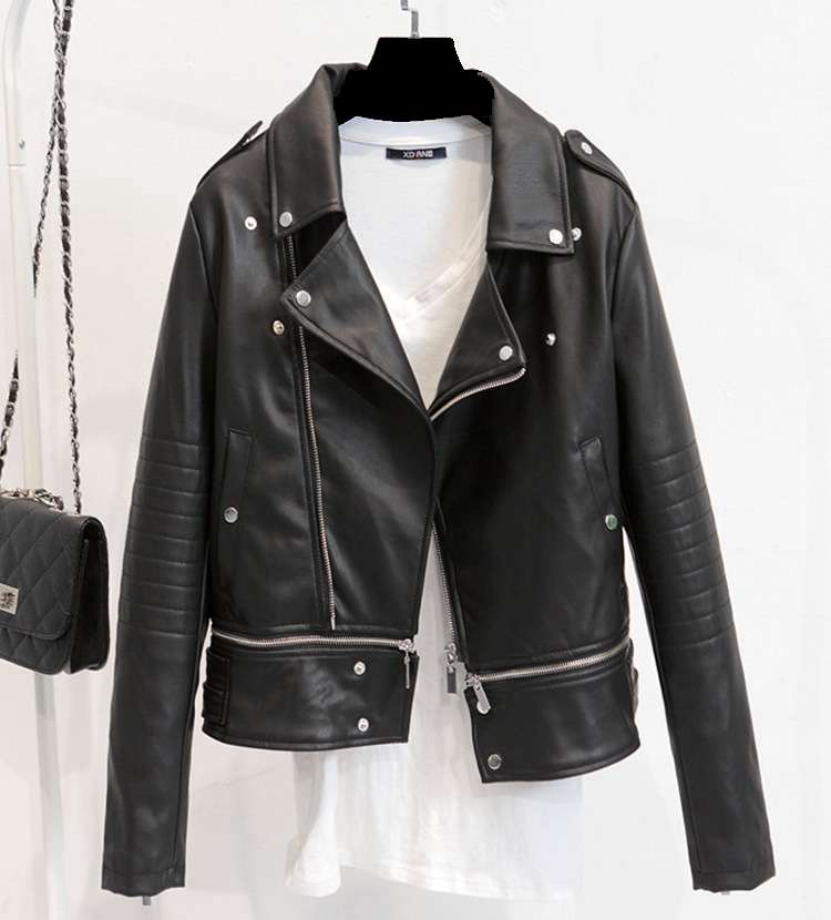 new PU leather font b jacket b font moto biker style short coat Slim motorcycle leather