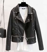 new PU leather jacket moto biker style short coat Slim motorcycle leather girl thin small jacket out wear zipper with epaulet