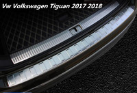 JIOYNG Stainless steel Car Rear Trunk Door Sill Scuff Plate Entry Guards Cargo Step Fits For Vw Volkswagen Tiguan 2017 2018