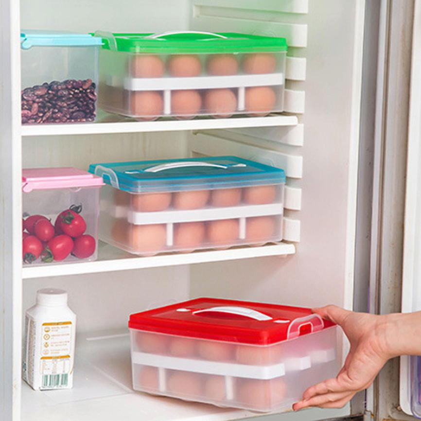 Hot!Kitchen Egg Storage Box Organizer Double Layer Refrigerator Food 24  Eggs Airtight Storage Container