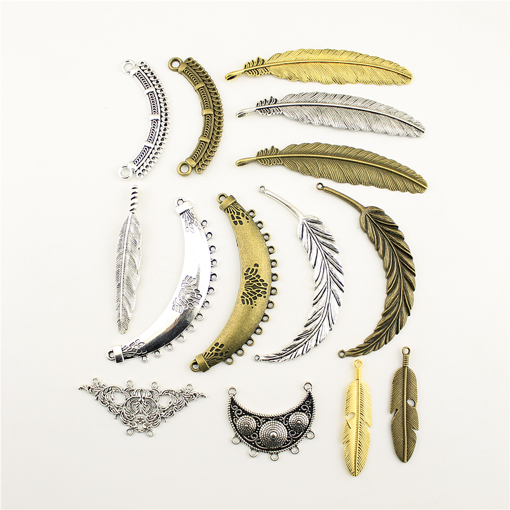 Charm Women Backless Dress Feather Connections Supplies For Jewelry Materials Hand Made Charms in Charms from Jewelry Accessories