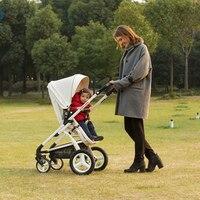 Роскошные Highview из искусственной кожи Детские коляски, складная коляска, мода двусторонней коляска, пневматические колеса коляски