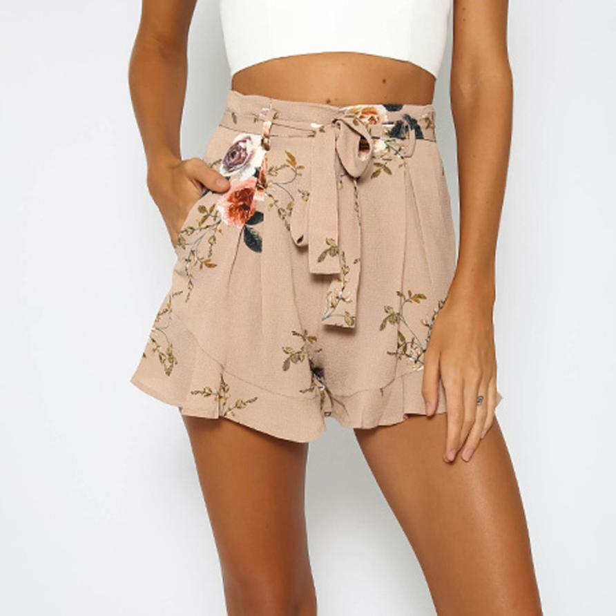 New Women's Fashion Sexy Embroidery Satin Hot Summer Print Flowers Casual Polyester Loose High Waist Short Beach horts 30 Apr 2