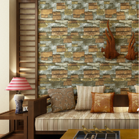 3D Brick Wallpaper Retro Stone American Style Old Country Cafe Restaurant Loft Industrial For Home TV