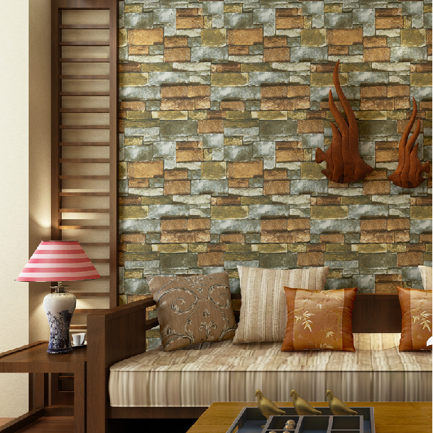 Old Study Room Design: 3D Brick Wallpaper Retro Stone American Style Old Country