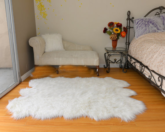 Plush White Faux Sheepskin Blanket Luxury Rectangle Fur Area Rug Decor Home Accents Premium Long