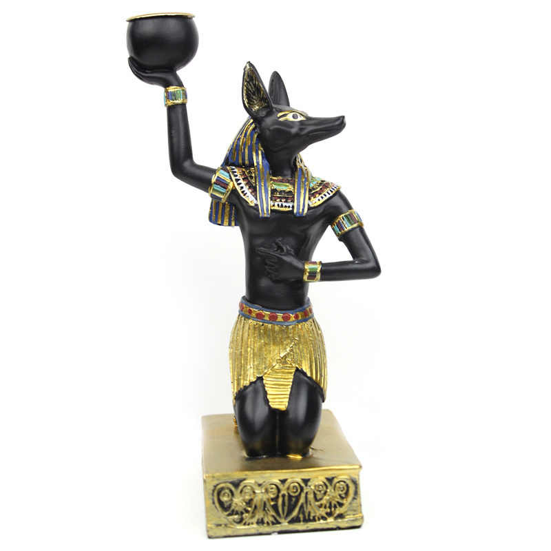 Egypt Candle Holders Resin Figurines Anubis Sphinx Home