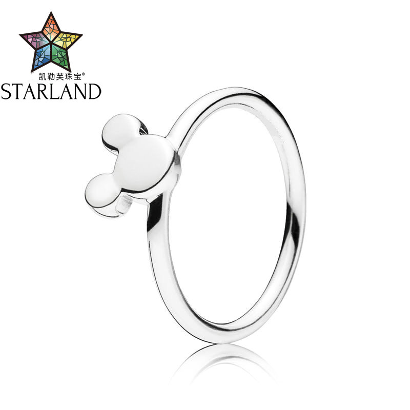 Starland 100% 925 Sterling Silver Europe hot sell Mickey Silhouette Ring suit Valentines Day gift for GirlStarland 100% 925 Sterling Silver Europe hot sell Mickey Silhouette Ring suit Valentines Day gift for Girl