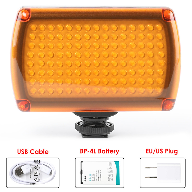 120 LED Video Light XH 120 Lamp 9W 850LM Dimmable with 2500mAh Battery USB Charger for
