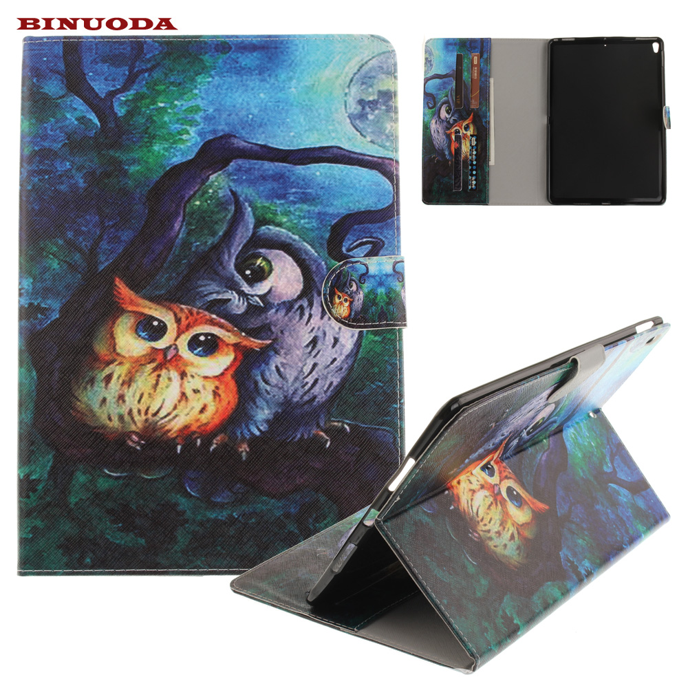 For iPad Pro 10.5 Cover Cute Owl Pattern PU Leather Soft TPU Back Skin Wallet Funda Tablet Case for iPad Pro 10.5 2017 Edtion tpu soft back cover case slim protective cover skin for funda apple ipad pro 10 5 2017 version para coque cover stylus pen