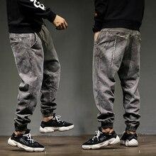 2018 High Street Fashion Classical Men Jogger Jeans Top Quality Loose Fit Harem Pants Gray Color Cotton Punk Hip Hop