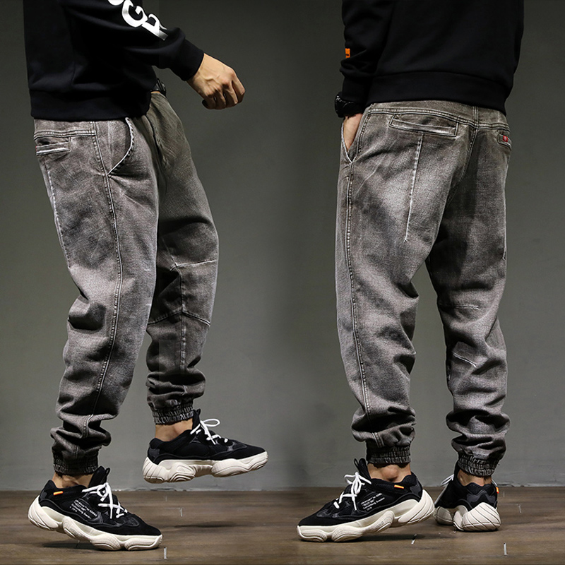 2018 High Street Fashion Classical Men Jogger   Jeans   Top Quality Loose Fit Harem Pants Gray Color Cotton Punk Pants Hip Hop   Jeans