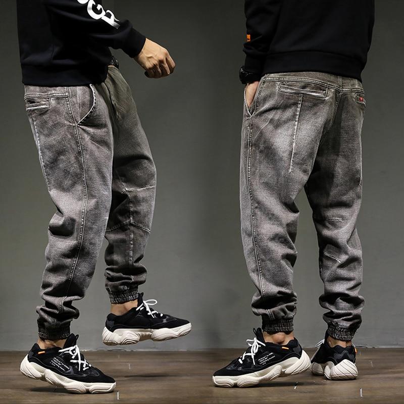 f2eb1e2e51fc 2018 alta calle moda clásico hombres Jogger Jeans alta calidad suelta pantalones  Harem Color gris algodón Punk pantalones Hip hop pantalones vaqueros