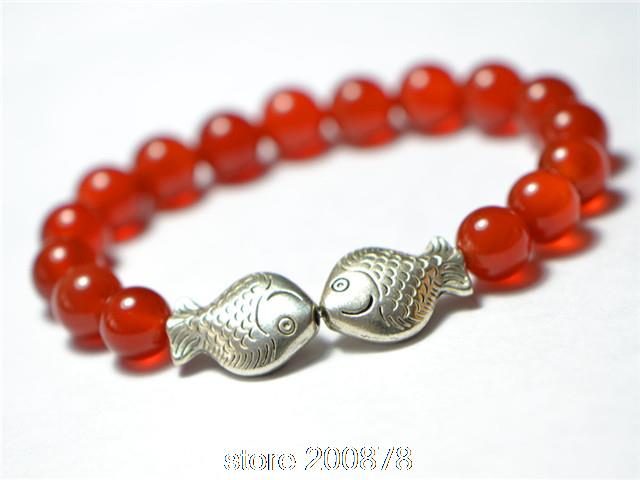 Wholesale Natural Red Carnelian Tibetan Silver Dural Fishes Beaded Bracelets Stretch 8mm Natural Stone Girls Bracelets 10pcs lot