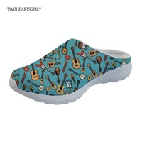 Twoheartsgirl Hispter Artist Guitar Pattern Home Slippers Ladies Beach Mesh Slippers Breathable Women Sandals Water Shoes