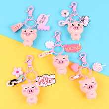 Fashion Cute Cartoon Pig Keychain Leather Rope Key Chains Animal Key Ring Holder Fur Pompones Llavero for Women Girl Bag Pendant цена и фото