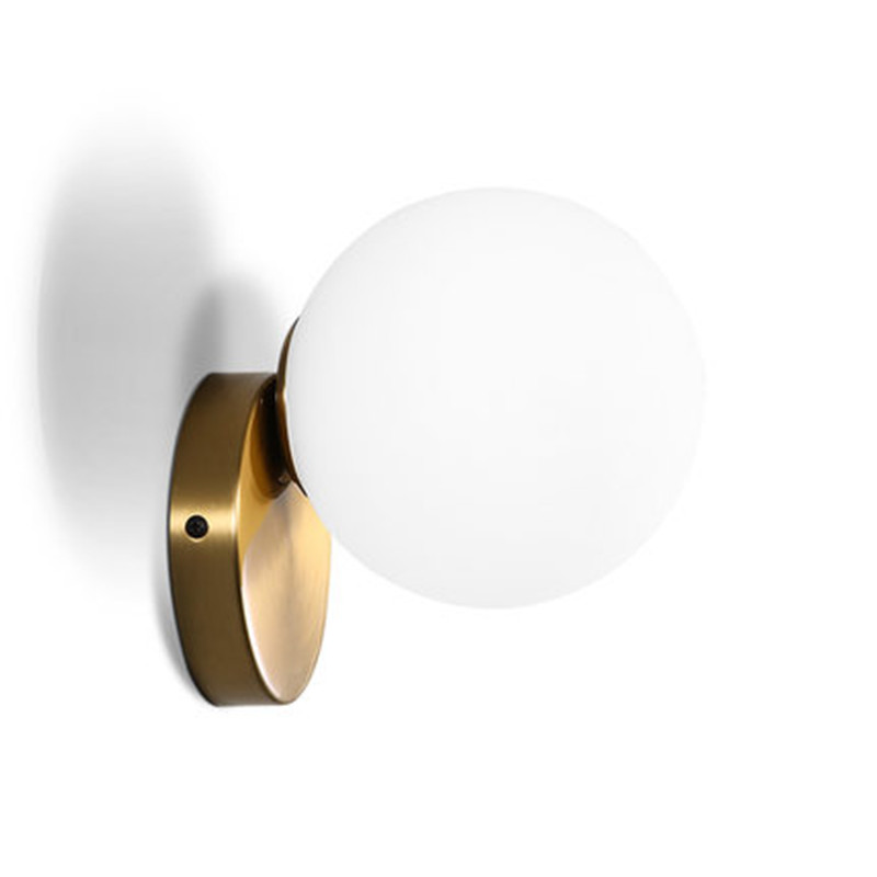 Simple Loft Style Round Glass Ball Wall Sconce Modern LED Wall Light Fixtures Home Bedside Wall Lamp Indoor Lighting Lamparas