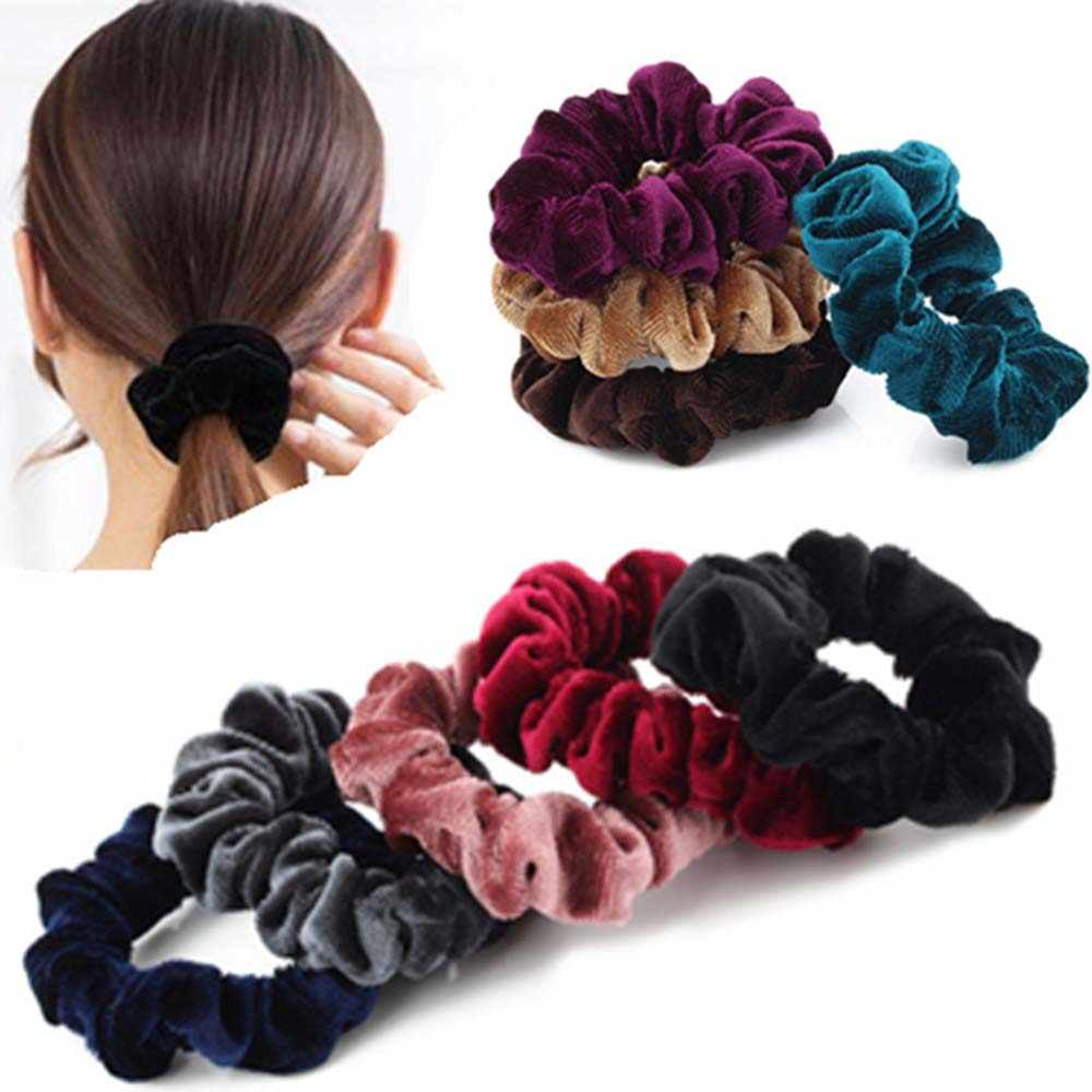 1 adet yeni moda lüks yumuşak hissediyorum kadife saç Scrunchie at kuyruğu çörek kavrama döngü tutucu sıkı saç bandı kadınlar için