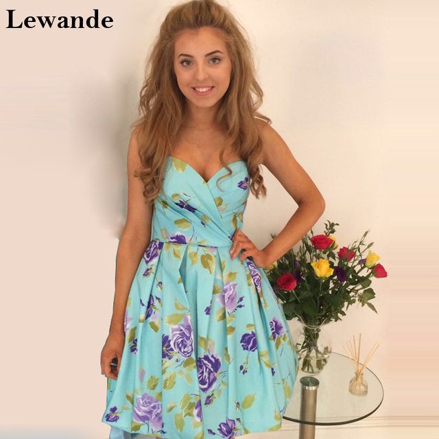 Lewande 60 Short Floral Printed Junior Cheap Homecoming Dress Gorgeous Floral Pattern Bridesmaid Dresses
