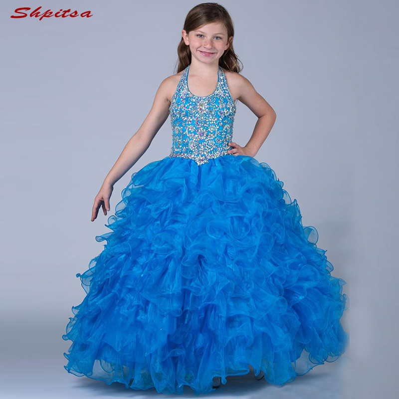 Blue Luxury   Flower     Girl     Dresses   for Weddings Evening Flowergirl First Communion Pageant   Dresses   for   Girls   Wedding