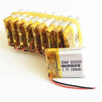 Wholesale 10 pcs 3.7V 180mAh 602020 Lithium Polymer LiPo Rechargeable Battery For Mp3 Mp4 PAD DVD DIY E-book bluetooth Camera - DISCOUNT ITEM  12% OFF Consumer Electronics