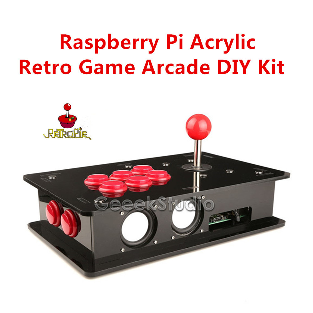 Raspberry Pi 3 Acrylic Retro Game Arcade DIY Kit with USB Joystick Control Board & Joystick & Push Buttons & Acrylic Box geeetech computer game kit for kids stem and coding training toy based on raspberry pi demo board