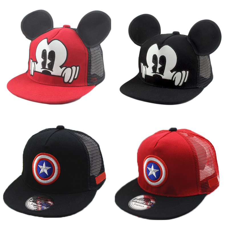 Apparel Accessories Boy's Accessories Cute Mickey Hip Hop Hat Children Hat Cartoon Ear Size Adjustable 2019 Spring Summer New Boys Girls Universal Street Dress Wide Selection;