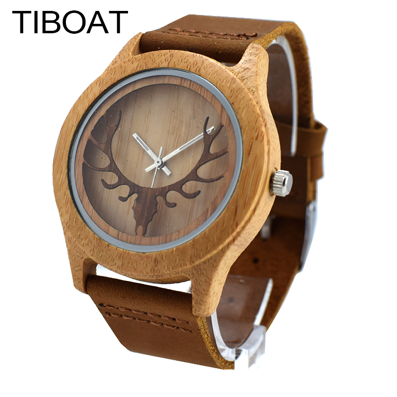 TIBOAT Bamboo Wood Casual Watches for Men Women Hollow Deer Head  laides Genuine Leather Strap Quartz Watch Wooden Dropshipping bamboo wood watches for men and women fashion casual leather strap wrist watch male relogio