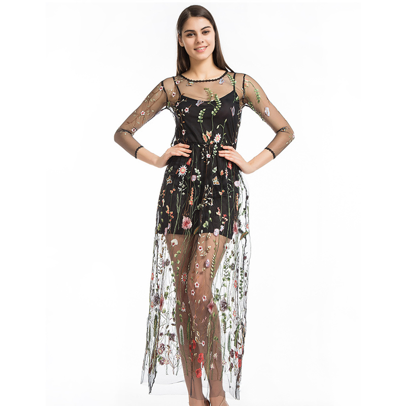 fdb7070605 Vadim Real Vestidos Runway 2018 Dress Flower Floral Embroidery Evening  Party Dresses Gorgeous Mesh Bohemian Perspective Long