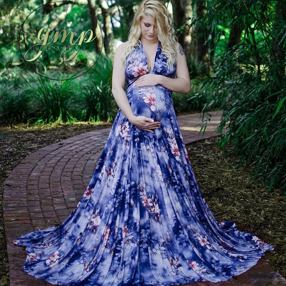 D&J New V-neck Blue Floral Print Casual Dress OR Maternity Photography Prop Dresses Pregnancy Cloth Maxi Dress Fotografia Robe random floral print v neck sleeveless irregular hem dresses