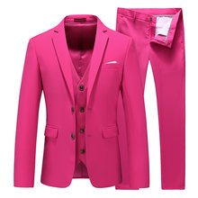MOGU Three Pieces Men's Elegant Groomsmen Lapel Groom Jacket Mens Suits Wedding Suits for Men Blazer Suit Party Prom Suits(China)