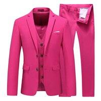 MOGU Three Pieces Men's Elegant Groomsmen Lapel Groom Jacket Mens Suits Wedding Suits for Men Blazer Suit Party Prom Suits