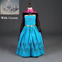 2016 New Elsa Anna Dress With Crown Girls Dress Cosplay Party Dresses Princess Children Baby Kids