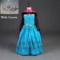 2017 New Elsa Anna Dress With Crown Girls Dress Cosplay Party Dresses Princess Children Baby Kids Baby Vestidos toddler Dresses